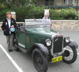 Sue and her Austin 7